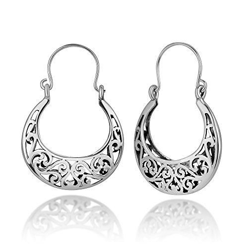 - 925 Oxidized Sterling Silver Bali Inspired Open Filigree Symbol Hinged Half Hoop Earrings 1.4