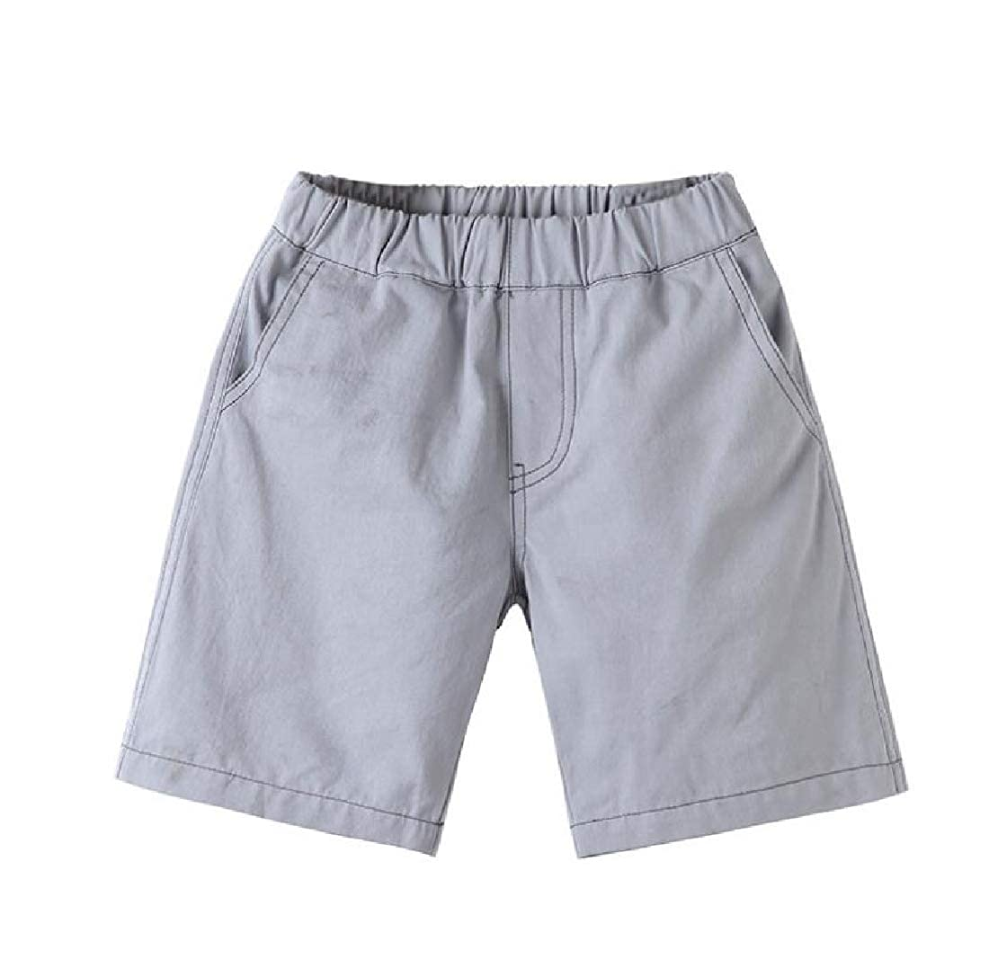 Lutratocro Boys Elastic Waist Solid Color Girls Cute Summer Cotton Short