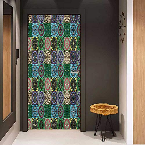 - Onefzc Automatic Door Sticker Colorful Pattern of Abstract Shapes Inspired by Stained Glass Style Traditional Vibrant Easy-to-Clean, Durable W38.5 x H77 Multicolor