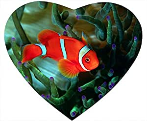 Fish Nonskid Natural Rubber Base Heart Shaped White Mouse Pad - The Fish Looks for Something