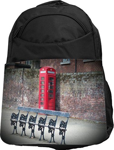 Rikki Knight UKBK Vintage Red British Phone Booth Park Bench Tech BackPack - Padded for Laptops & Tablets Ideal for School or College Bag BackPack Computer Booth