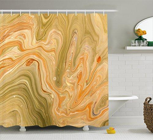 wer Curtain by, Antique Ethnic Ottoman Art Ebru Turkish Marbling Modern Artwork, Fabric Bathroom Decor Set with Hooks, 70 Inches, Orange Olive Green Sand Brown ()