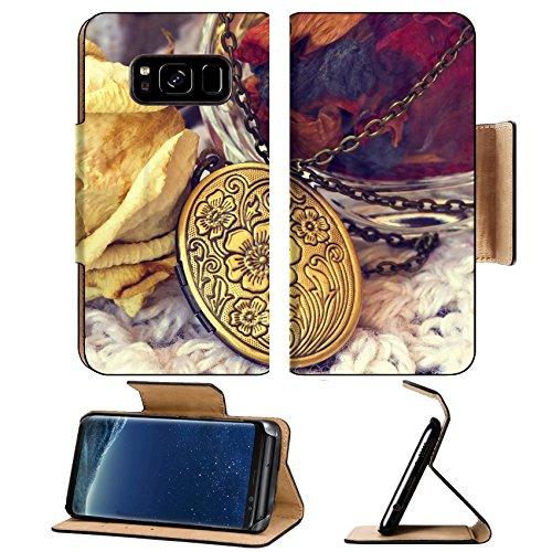 Image Locket (Luxlady Premium Samsung Galaxy S8 Plus S8+ Flip Pu Leather Wallet Case IMAGE ID: 33982803 vintage bronze locket close up)