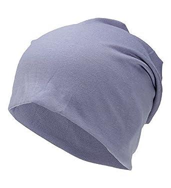 19a88d74469077 Damen Uni Jersey Long Beanie dünne lange Slouch Mütze One Size Hell Lila