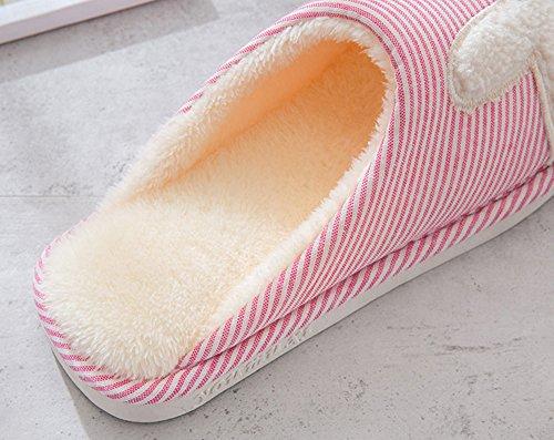 Non Femmes Chaussures Rojeam Slip Slipper lapin Pantoufle Avec de Tissu Mesdames Hommes et Pour Semelle Doublé Doublé Marine grgq6z4w