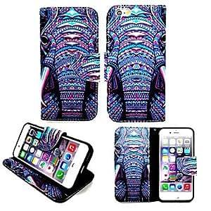 GX elefantes tribu cuero de la PU TPU tarjeta de la pintura caso titular de la cartera con óvalo iphone bucklefor 6
