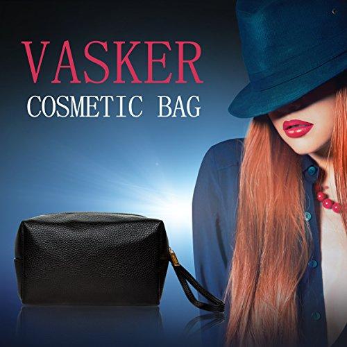 VASKER PU Leather Makeup Bag Handy Cosmetic Pouch Travel Portable Handbag Purse Toiletry Storage Bag Large Organizer with Zipper Women by VASKER (Image #6)