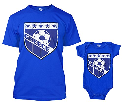 Greece Retro Soccer Crest Matching Bodysuit & Men's T-Shirt (Royal Blue/Royal Blue, Medium/12 Months)