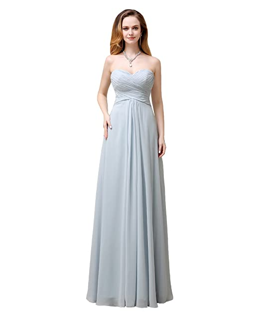5884c6315b YesDress Juniors Formal Simple Spring Best Sweet Heart Chiffon Zipper Back  Long Beach Pale Dusty Blue Bridesmaid Dresses: Amazon.co.uk: Clothing