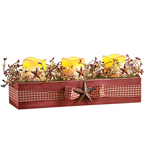 Rustic LED Flameless Candles and Wood Crate Centerpiece with Plaid Bow and Berries for Country Charm]()