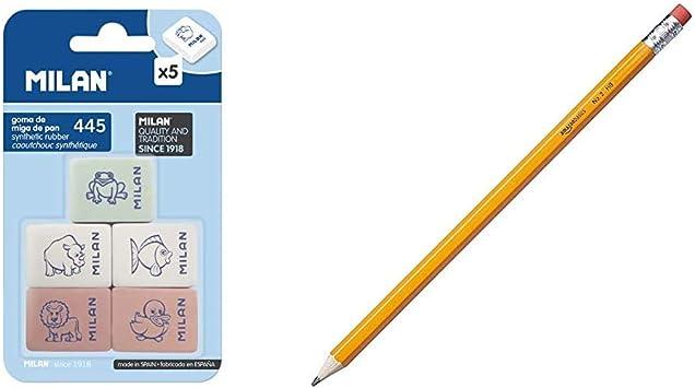 Milan BMM9222 - Pack de 5 gomas de borrar de caucho sintètico flexible, modelo de figurinas surtido + AmazonBasics - Lápices n.º 2 HB de madera, afilados, Pack de 30: Amazon.es: Oficina y papelería