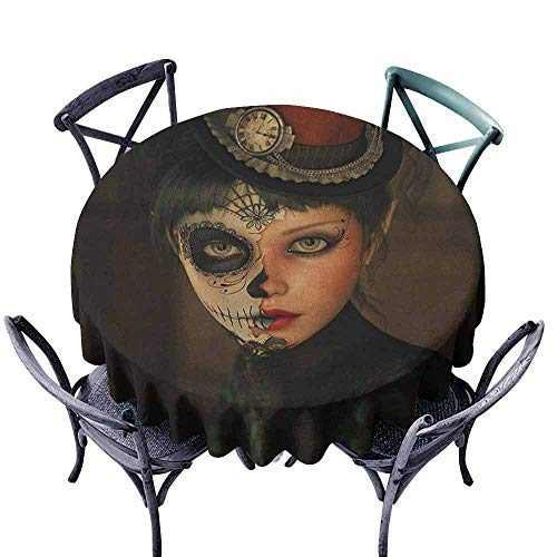 ScottDecor Overlay Round Tablecloth Dinning Tabletop Decoration Sugar Skull,Antique Portrait Girl with Calavera Inspired Makeup and Topper Realistic Design, Multicolor Diameter 54