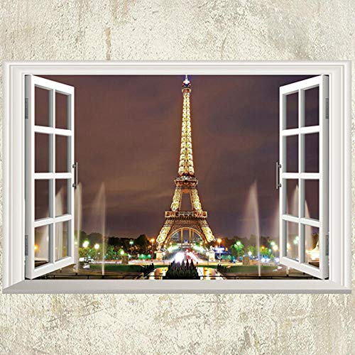 ajhsuwn 3D Window Paris Eiffel Tower Wall Decal Art Vinyl Mural DIY Living Room Home Decor Wall Stickers