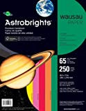 Wausau Paper Astrobrights Premium Cardstock, 65 lb, Letter, Vintage 5-Color Assortment, 250 Sheets (21003), Office Central