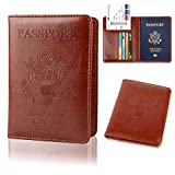 GDTK Leather Passport Holder Cover RFID Blocking Travel Wallet (Brown)