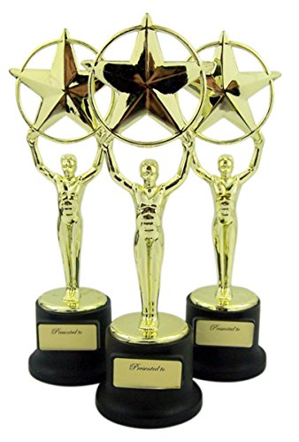Pack of 3 Black and Gold Sports Award Trophies for Teachers and Kids, 5 Inch -