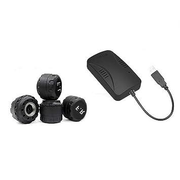 UnitedHeart Detector de automóvil inalámbrico USB TPMS con sensores externos o internos Sistema de monitoreo automático de presión de neumáticos con Alarma ...