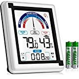 Eccostar High Accuracy Digital Hygrometer, Indoor Room Thermometer and Humidity Gauge Meter with Digital Alarm Clock, Large LCD Touchscreen with Backlight, Room Temperature Baby Monitor