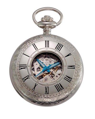 Gotham Men's Silver-Tone 17 Jewel Mechanical Covered Pocket Watch # GWC14036S ()