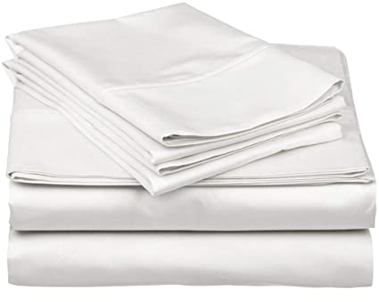 9f3293672dab True Luxury 1000-Thread-Count 100% Egyptian Cotton Bed Sheets, 4-Pc Queen  White Sheet Set, Single Ply Long-Staple Yarns, Sateen Weave, Fits Mattress  ...