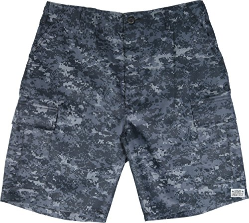 Army Universe Midnight Blue Digital Camouflage Military BDU Cargo Shorts Pin Size Large (Waist 35-39