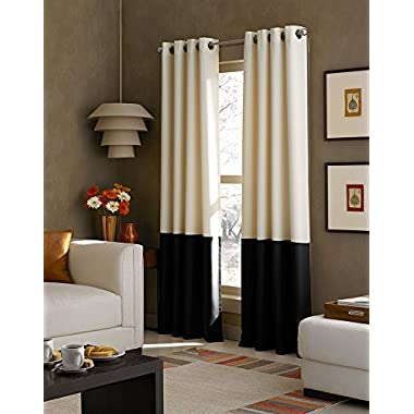 Curtainworks Kendall Color Block Grommet Curtain Panel, 84 inch , Cream, Solid