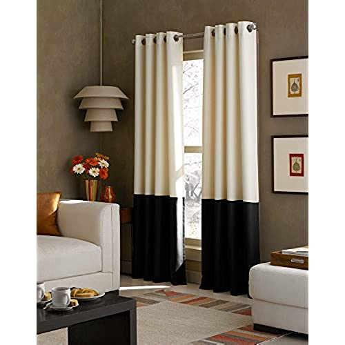 Curtainworks Kendall Color Block Grommet Curtain Panel 84 Inch Cream And Black