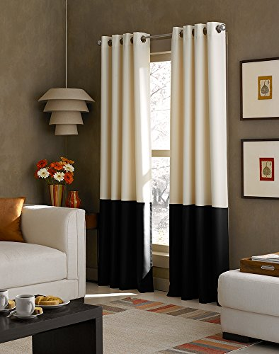 Black Grey Cream (Curtainworks Kendall Color Block Grommet Curtain Panel, 84 inch , Cream, Solid)