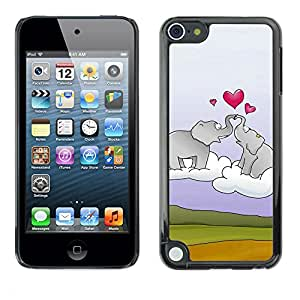 Paccase / SLIM PC / Aliminium Casa Carcasa Funda Case Cover - Elephant and heart - Apple iPod Touch 5