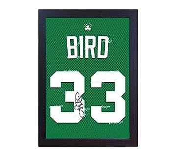 Larry Bird Boston Celtic de la NBA con autógrafo (sobre lienzo 100% algodón T camisa enmarcado: Amazon.es: Deportes y aire libre