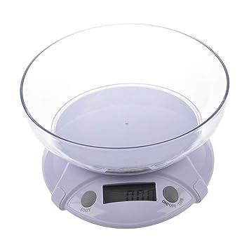 SODIAL(R) 7KG/1G Bascula Digital Electronico para Cocina con Bol - Blanco: Amazon.es: Hogar