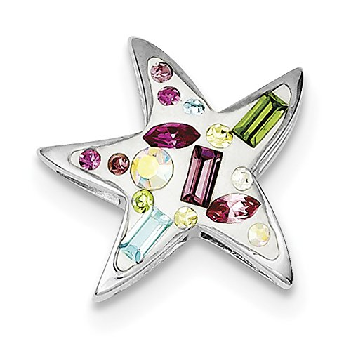 Sterling Silver Rhodium Plated Stellux Crystal Star Slide (Rhodium Plated Crystal E Slide)