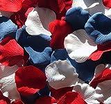 300 Silk Rose Petals Wedding Favors-Multi Colors - Red, Blue & White