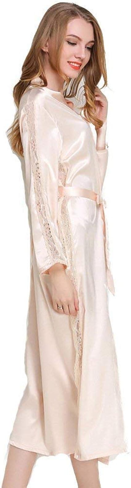 Mujer Kimono Primavera Otoño Colores Sólidos Elegantes Pijamas Mujer Moda Casual Batas Vintage Manga Larga V-Cuello Albornoz Camisones con Cinturón: Amazon.es: Ropa y accesorios