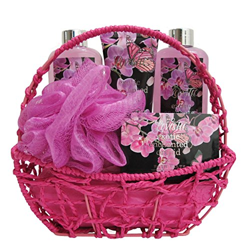 Rejuvenating Exotic Orchid Spa Basket Set By Lovestee - Bath and Body Gift Set, Gift Box, Includes Exotic Shower Gel, Bubble Bath, Sensual Body Lotion, Bath Salt, and Bath Puff (Valentines Bath Salts compare prices)