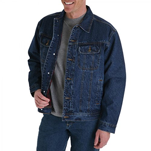Wrangler Mens Big and Tall Flannel Lined Denim Jacket (Blue 3X) by Wrangler