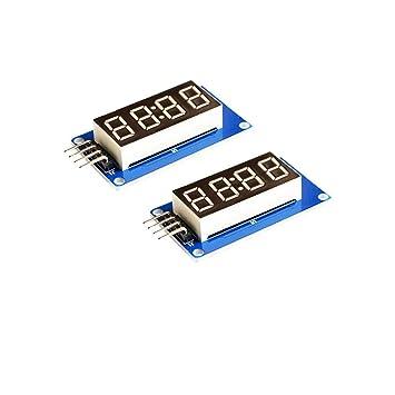 ARCELI 2 unids 4 bits Módulo de Visualización de Segmento de Tubo LED Digital con Reloj de Pantalla Ánodo Común Rojo para Arduino UNO R3: Amazon.es: ...