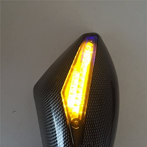 Htt Moto Bleu LED Tour Signal Miroir en fibre de carbone fum/ée pour Yamaha FZR YZF FZ1/Fazer Fjr1300/Ninja Zx10r Zx-12r Er-6/F