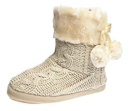 por para Zapatillas de Punto con Bordes Fairee del y de Pompons Mujer Beige Estar Tejido casa 2 Airee Pantuflas Mujer de XwX0d