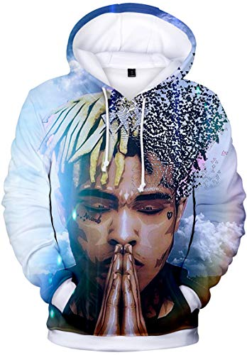Bettydom Unisex Rapper Hoodies Cool Pullover 3D Printed Long Sleeve Sweatshirt(L,Pray-2)