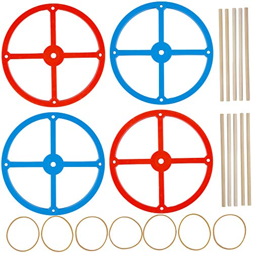 Large Plastic Project Wheels - 20 Wheels, 20 Rubber Bands, 10 Dowels, and a Project Idea - 4.75 inch Wheel Diameter and 1/4 inch Axel Hole