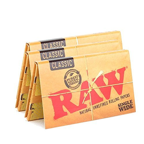 - RAW Classic Natural Unrefined Rolling Paper 70mm Single Wide Size - 100 Leaves Per Pack - (3 Packs)