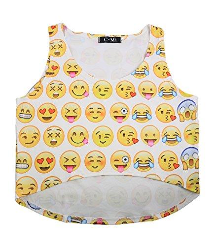 Women's Emoji Digital 3D Printed Crop Top Tank Vest