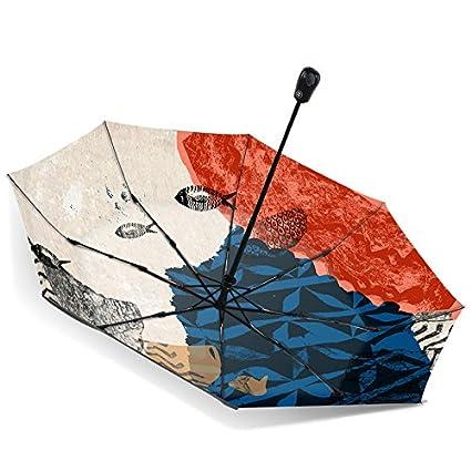 Paraguas plegable automatico Mujer niño Hombre an- Sombrilla Plegable Automática Pintura Al Óleo de Protección