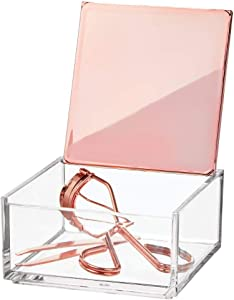 mDesign Mini Makeup Organizer Box with Decorative Lid for Bathroom Vanity Countertops, Cabinet - Store Eye Shadow Palettes, Lipstick, Lip Gloss, Blush, Concealer, Jewelry - Plastic, Clear/Rose Gold