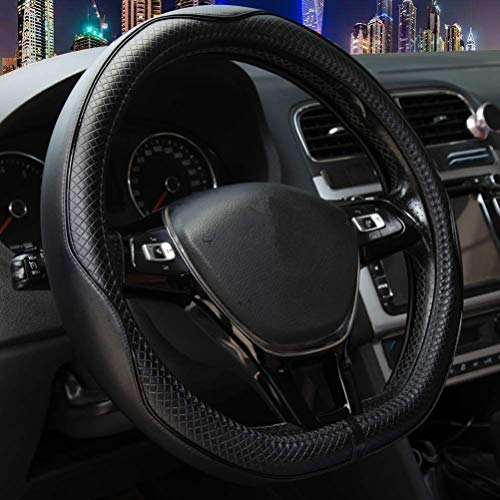 D Shaped Steering Wheel Covers, Black Genuine Leather Breathable Massage Fit Flat Bottom Steering Wheel Cover for Women Men 14.5
