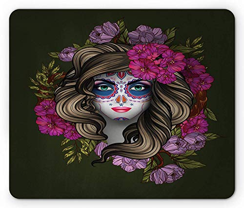 Makeup Mouse Pad, Calavera Day of The Dead Mexican Sugar Skull Faced Woman with Floral Head Halloween, Standard Size Rectangle Non-Slip Rubber Mousepad, Multicolor -