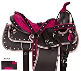 "AceRugs 14"" 15"" 16"" 17"" Pink Silver Texas Star Quarter Horse Saddle Western Synthetic TACK Set"