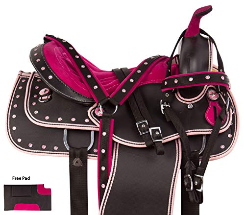 AceRugs Light Weight Pink Silver Texas Star Show Trail Horse Saddle Cordura Synthetic Free TACK Set (15)