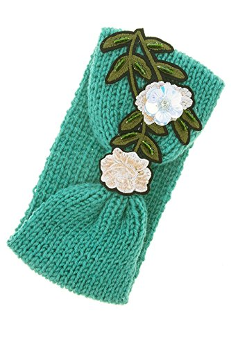 Estate Flowers Brooch (TRENDY FASHION JEWELRY FLOWER PATCHED KNOT ACCENT KNITTED HEADBAND BY FASHION DESTINATION | (Mint))